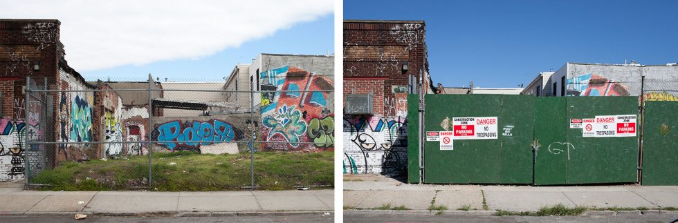 Corner lot: Suydam St. and Central Avenue, May 2015 and July 2015.